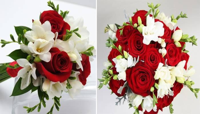 Свадебный красно белый букет
