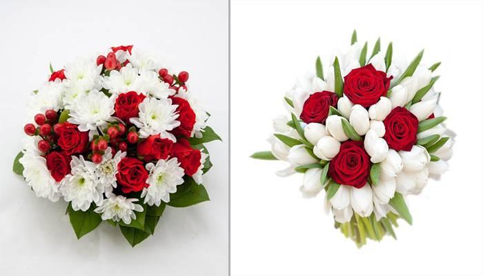 Бело красные свадебные букеты